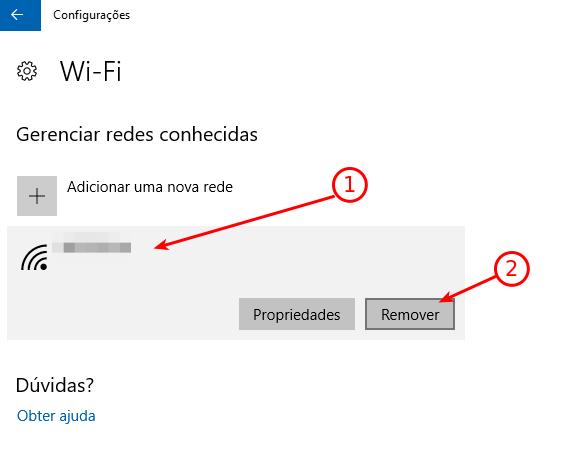 Windows 10 - Remover rede sem fio conhecida