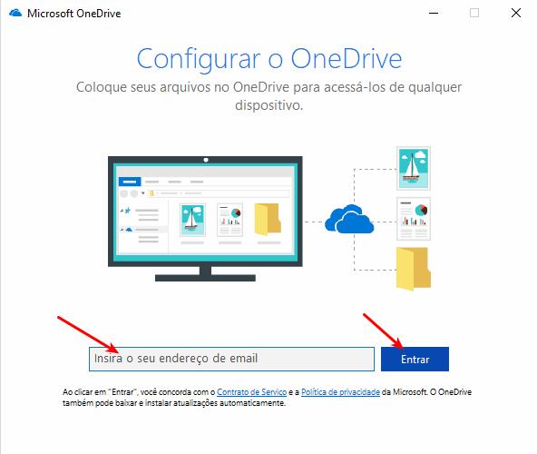 OneDrive - Inserir e-mail