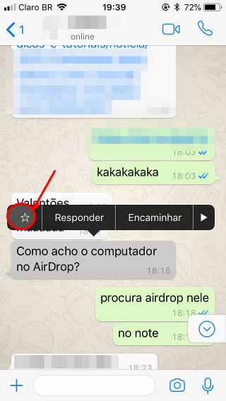 Marcar mensagem de WhatsApp no iPhone