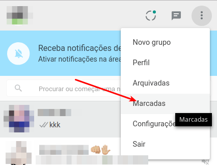 Mensagens marcadas no WhatsApp Web