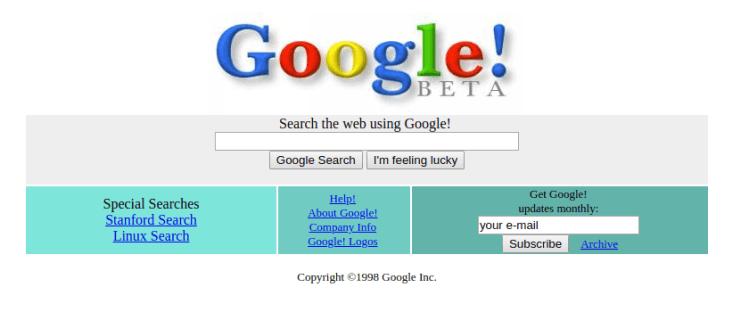 Google em dezembro de 1998