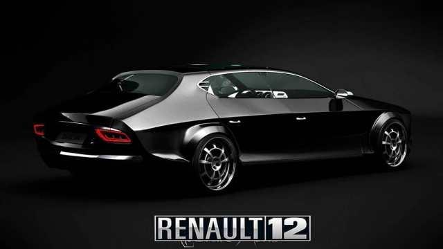 Renault 12 prototipo negro vista trasera derecha