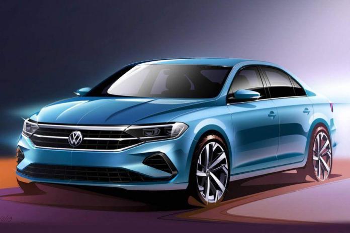 Nuevo VW Polo Sedan 2021 celeste vista frontal izquierda