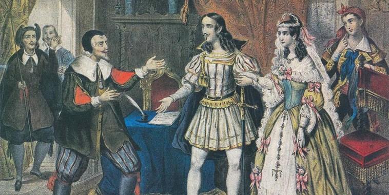 Barbiere di Siviglia incisione del matrimonio tra Rosina e il Conte d'Almaviva,