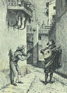Scena del Barbiere di Siviglia di Rossini in una stampa di Louis Monziés
