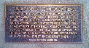La targa che rivendica la paternità di Jingle Bells al Massachusset