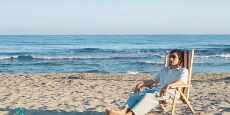 Agnello in spiaggia seduto sulla sdraio