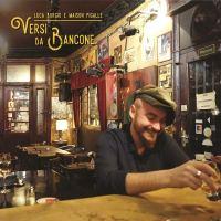 Luca Burgio al bancone del bar. Copertina del disco Versi da bancone