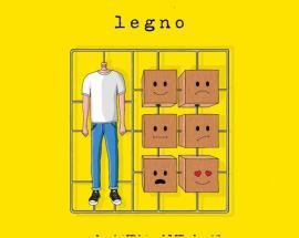Copertina del disco di Legno su fondo giallo: Titolo Album