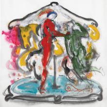 copertina del disco Giostre di Alberto Nemo realizzata ad acquerello da Mauro Mazziero