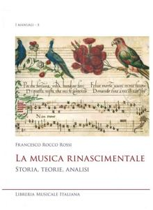 pentagramma con notazione quadra nella copertina del libro Francesco Rocco Rossi: La Musica Rinascimentale