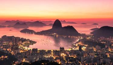Veduta di Rio de Janeiro al tramonto