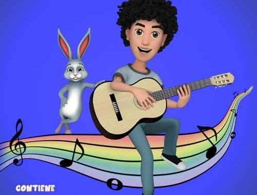 disegno di un ragazzo che suona la chitarra con vicino un coniglio in copertina del libro di Luca Fiamingo: ChitarraMania