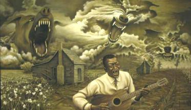 Musica del Diavolo: chitarrista blues in un disegno circondato da mostri