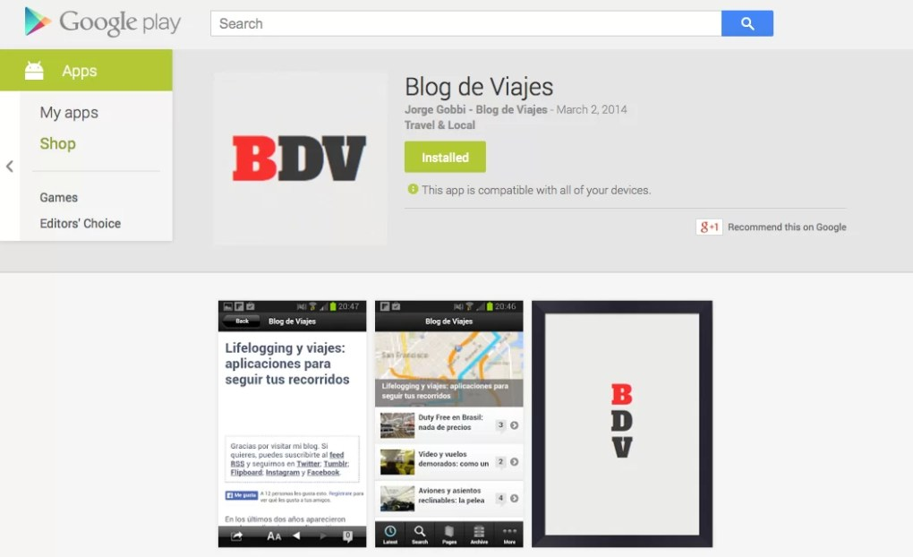 Blog de Viajes en Google Play Store