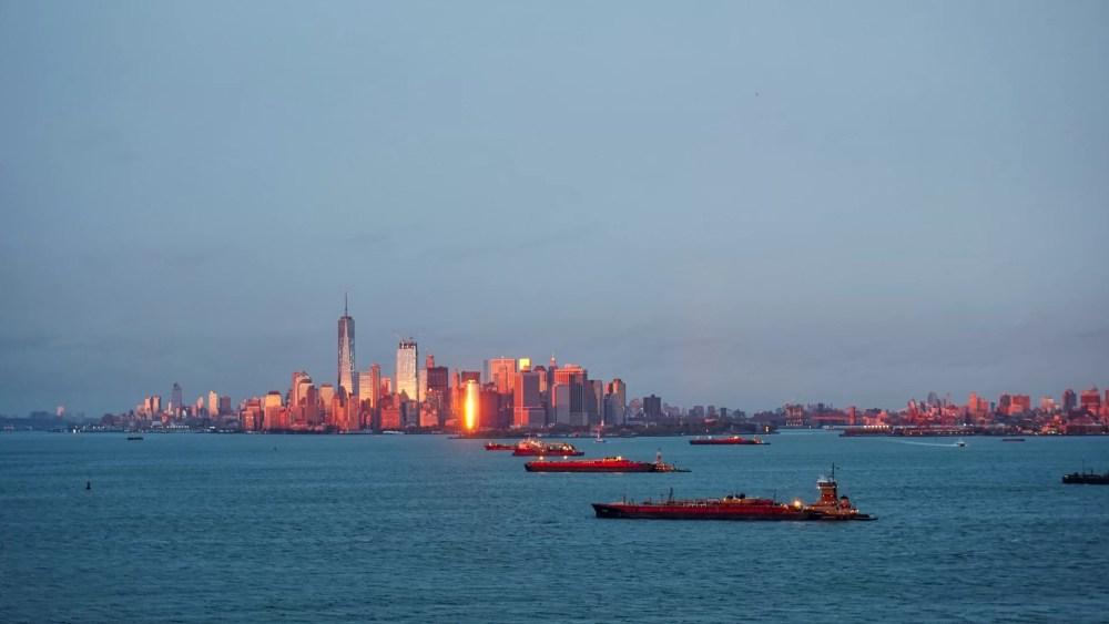 Skyline de Manhattan al atardecer