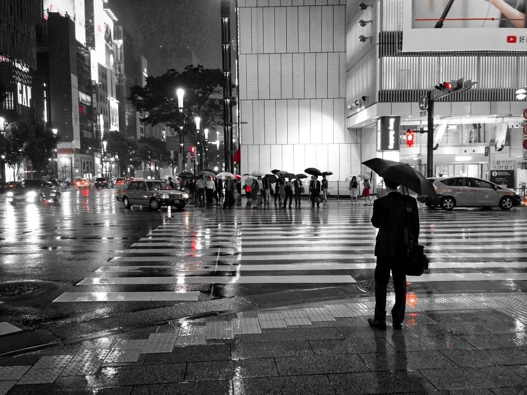 la lluvia en Ginza