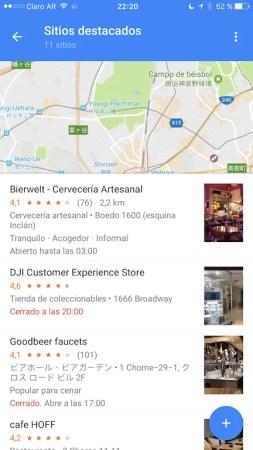 Listas en Google Maps