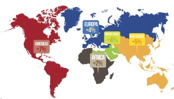Crecimiento 2014, turismo internacional, por regiones