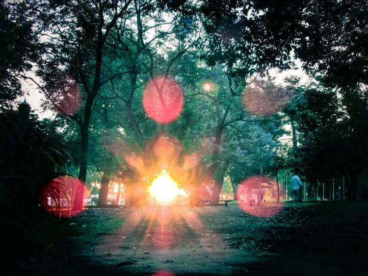 Parque Chacabuco al atardecer