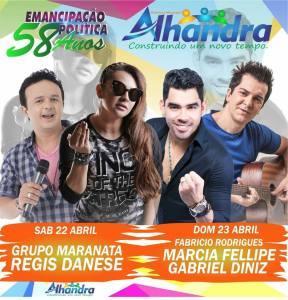 Gabriel Diniz e Régis Danese são atrações na Festa de Emancipação de Alhandra