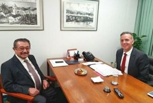 Deputado Aguinaldo Ribeiro recebe senador José Maranhão e Romero Rodrigues, em Brasília