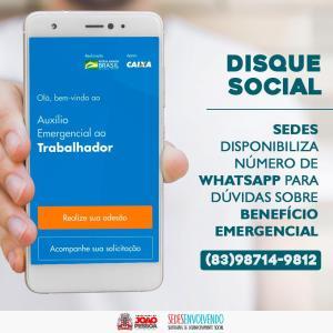 Sedes disponibiliza número de WhatsApp para a população tirar dúvidas sobre benefício emergencial