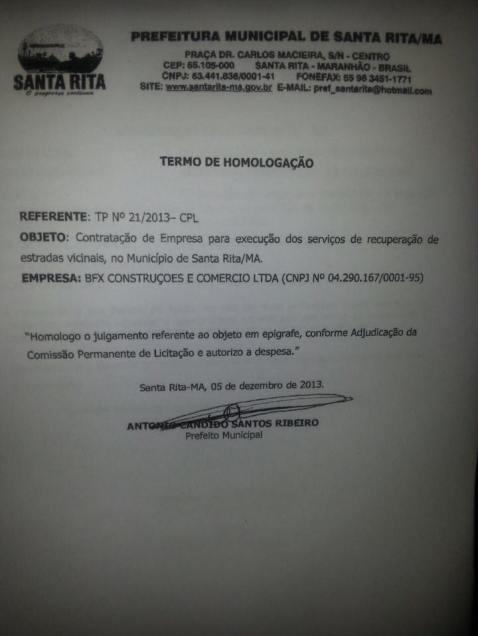 Contrato de empresa fantasma foi homologado pelo prefeito Antonio Cândido, o Tim, no dia 05 de dezembro de 2013.