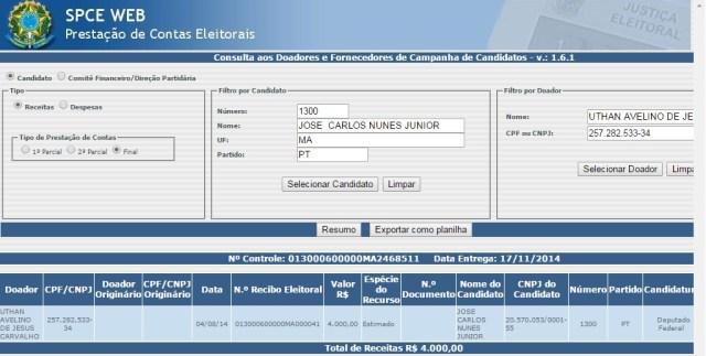 Ligado à agiota Pacovan, secretário Uthan Avelino que movimenta as contas da Prefeitura de Santa Rita doou R$ 4 mil para campanha do deputado federal Zé Carlos