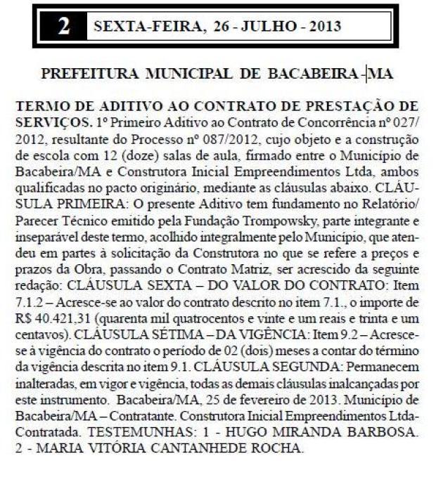 Na gestão do prefeito Alan Linhares, Prefeitura de Bacabeira fez um aditivo para acrescentar mais de R$ 40 mil ao contrato original de mais de R$ 1 milhão. Foto: Reprodução.