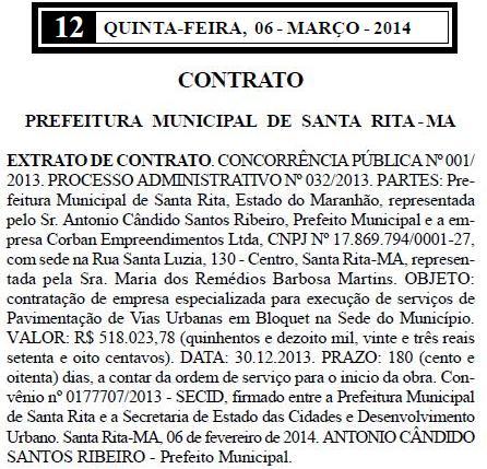 Verbas de convênio com a Secid beneficiaram empresa de sogra do filho do prefeito de Santa Rita