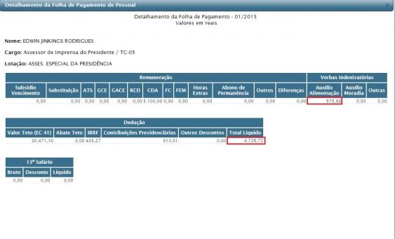Folha do mês de janeiro deste ano comprova que os salários de parentes de Jorge Pavão estão entre os mais altos entre os funcionários do TCE