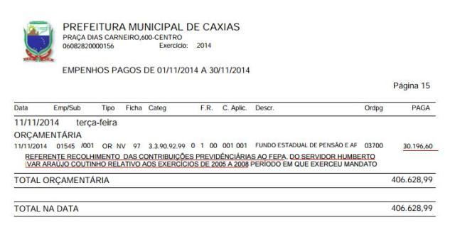 Fundo de pensão parlamentar descontado pela prefeitura de Caxias é algo inédito no país