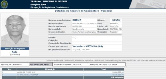 Em 2008, Burné declarou à Justiça Eleitoral que possuía bens no valor de R$ 50 mil.