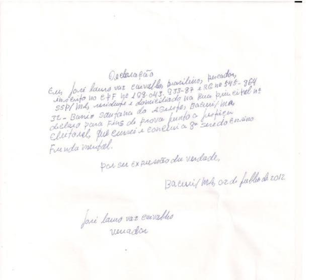 Texto de Zé Lauro considerado 'alfabetizado' pela Justiça Eleitoral