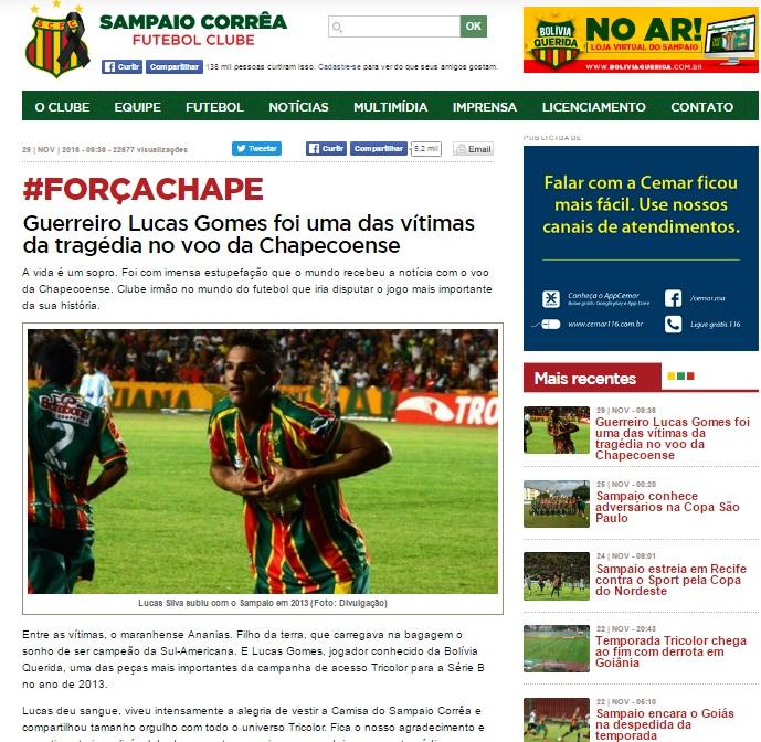 Clube maranhense prestou homenagem ao jogador.