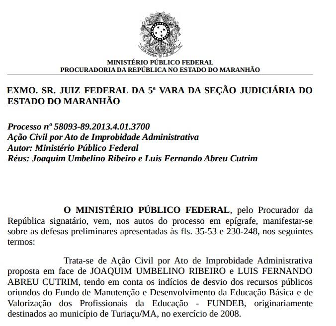 """""""Notas frias"""" teriam justificado gastos em Pirapemas Trecho do parecer do MPF apresentado à Justiça Federal."""