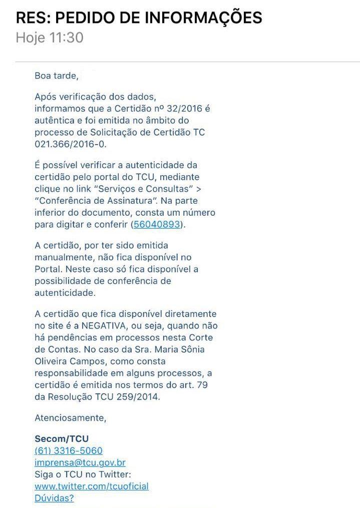 Em nota ao blog, TCU diz que Sônia Campos tem pendências em processos na Corte de Contas.