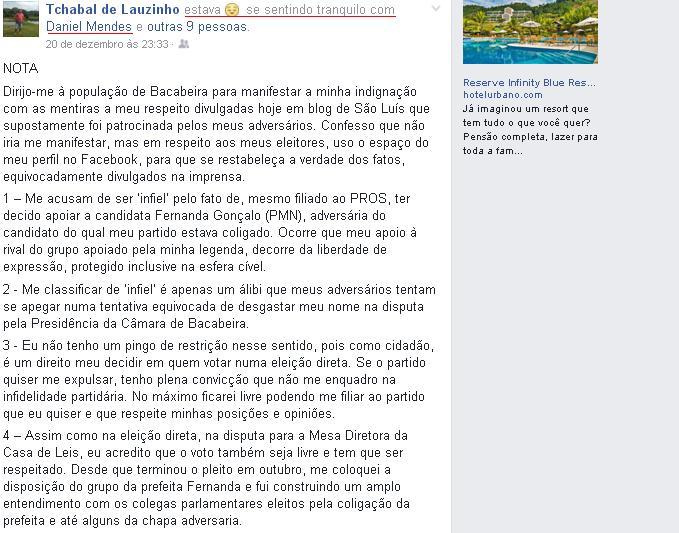 """Tchabal postou a nota 'se sentido tranquilo com Daniel Mendes"""", aliado do adversário de Fernanda, que comanda o PROS no município"""