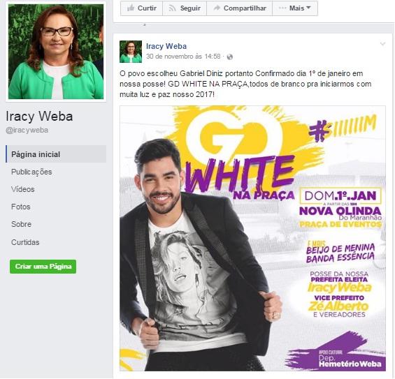 Festas e shows serão prioridades de Iracy Weba em Nova Olinda.