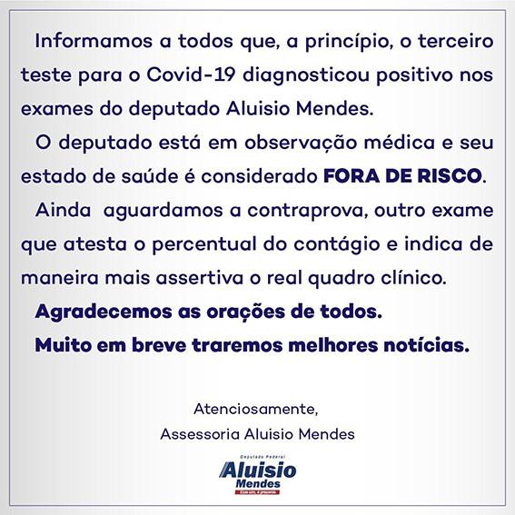 4c329c79 cfba 4201 ad18 5162aee7eb21 - Deputado Federal Aluísio Mendes do Maranhão testa positivo para Coronavírus - minuto barra