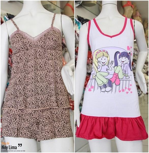 A esquerda - Baby Doll Mikaela – Ref.: D-023 / A direita - Camisola Emília – Ref.: D-019