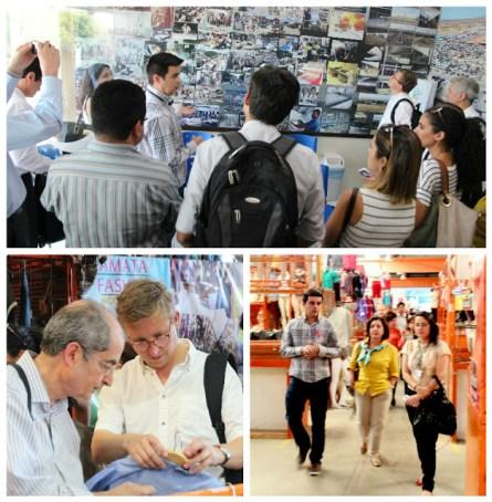 Comitiva com membros brasileiros e europeus conhecendo o Moda Center Santa Cruz.