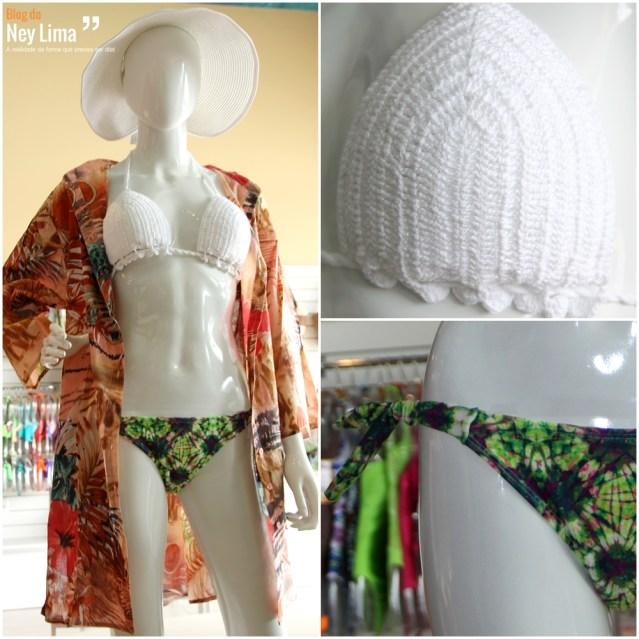 Look composto de biquíni em crochê (ver detalhe na parte superior) e saída de banho estampada - Ref. 10161 e B-01