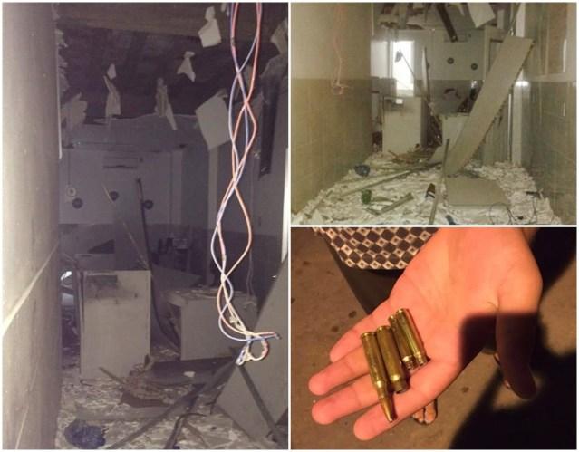 Agência do Bradesco e algumas das munições encontradas por moradores