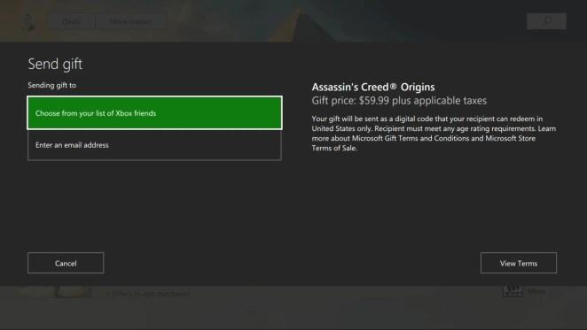 Xbox Game Gifting UI