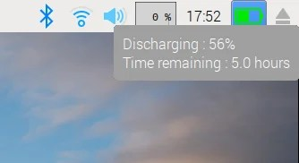 Raspberry Pi Desktop Stretch - battery indicator