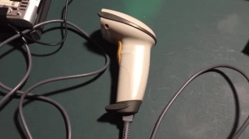 A screenshot from the video showing the laser scanner used for the Raspberry Pi-powered barcode reader