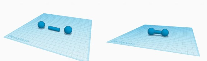 Constructive solid geometry in action during the construction of a dumbbell in Tinkercad