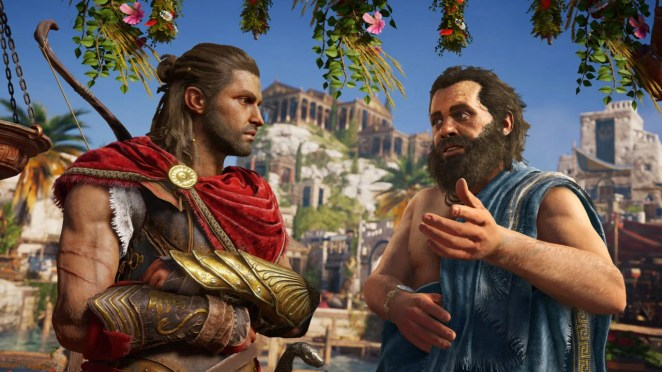 Male protagonist Alexios speaking with Socrates, one of the many ways Odyssey incorporates Greek history.